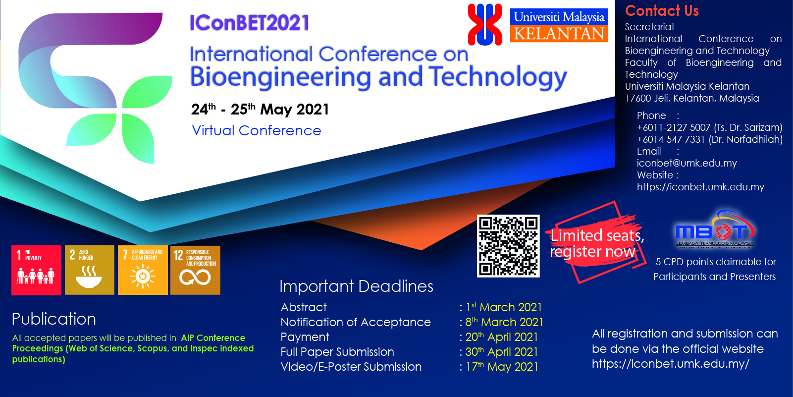 International Conference on Bioengineering and Technology (IConBET2021)